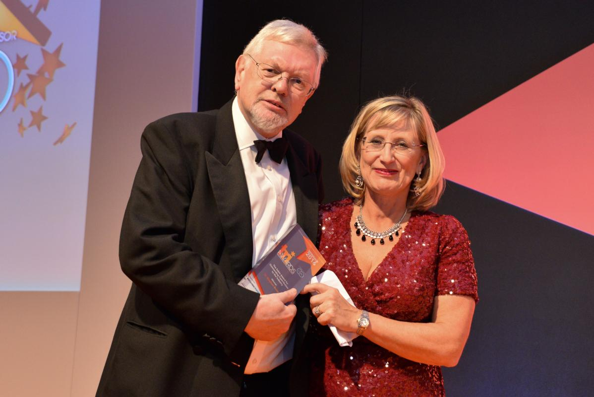 Stephen Baister; a new TRI Awards judge, accepts the Sabin Award from Frances Coulson in 2016