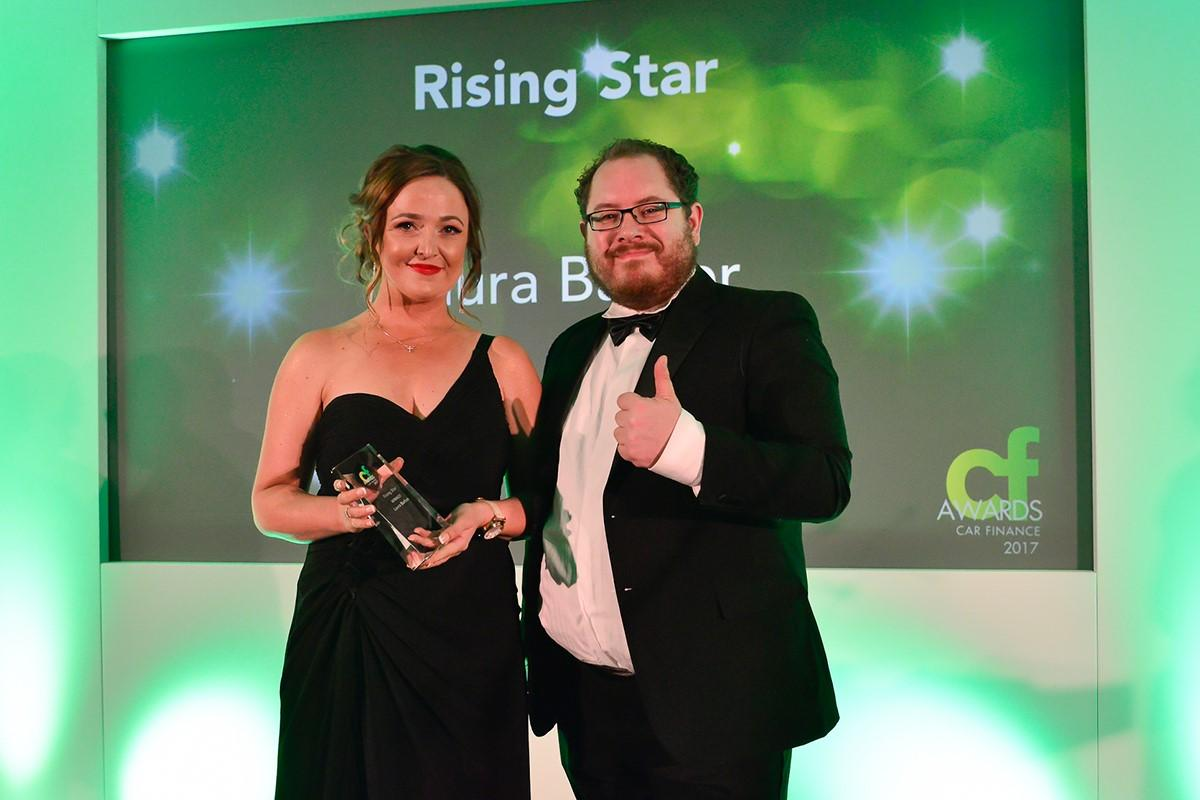 Rising Star winner Laura Barker, of DSG Financial Services, with Credit Strategy's Fred Crawley