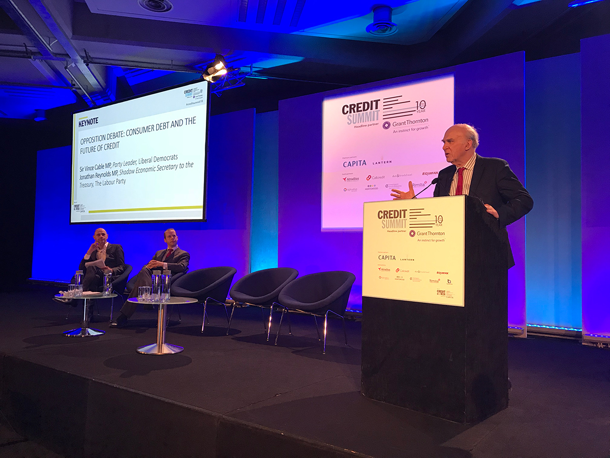 Sir Vince Cable speaking at the Credit Summit 2018