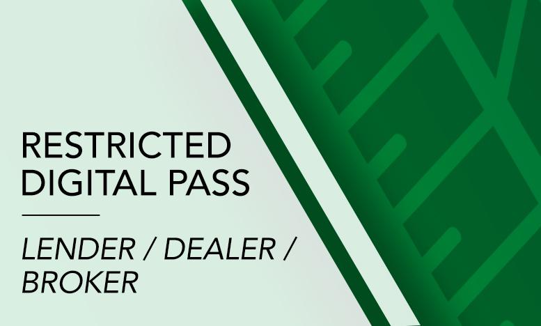 Restricted Digital pass: Lender / Dealer / Broker - Car Finance Conference