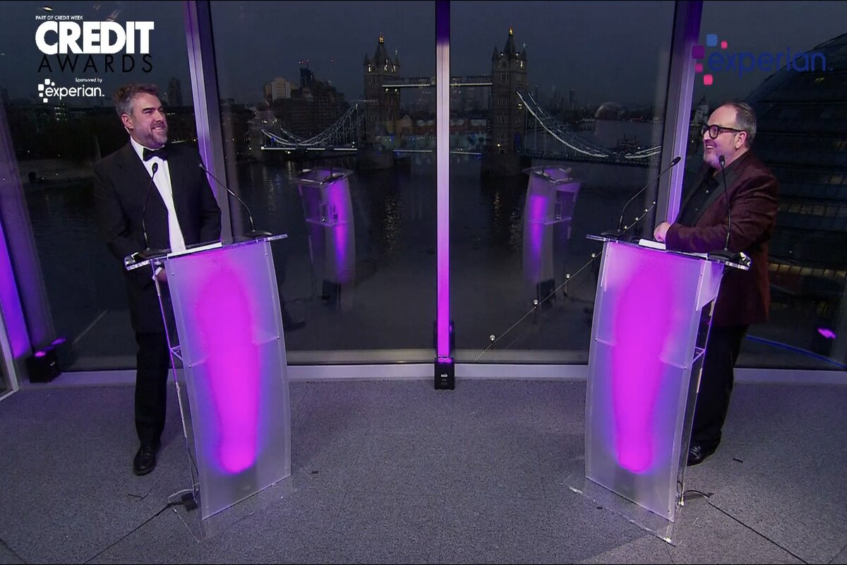 Luke Broadhurst, left, with Credit Awards host Justin Moorhouse