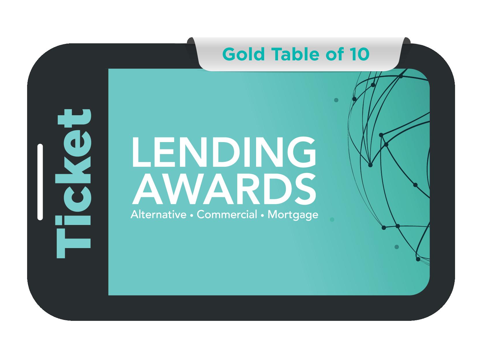 Gold Table of 10 - Lending Awards 2021
